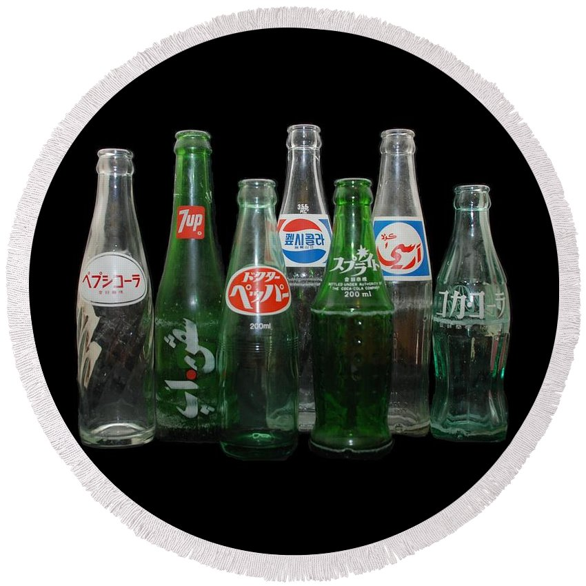Pepsi Round Beach Towel featuring the photograph Foreign Cola Bottles by Rob Hans