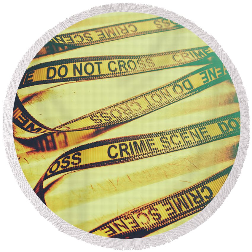 Crime Round Beach Towel featuring the photograph Forensic Csi Lab Details by Jorgo Photography - Wall Art Gallery