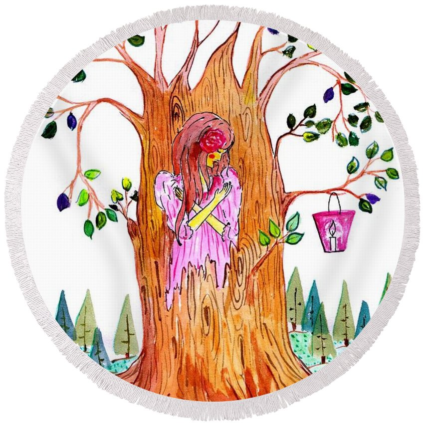 Forest Round Beach Towel featuring the painting Forest Angel by Sweeping Girl