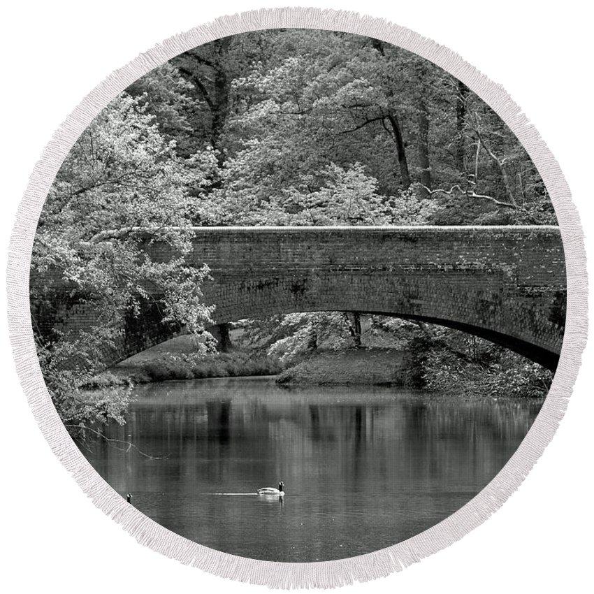 Ann Keisling Round Beach Towel featuring the photograph Forest Bridge by Ann Keisling