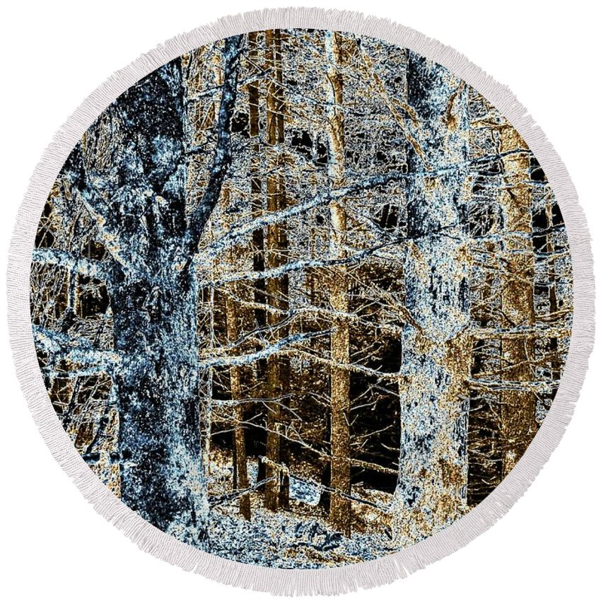Forest Round Beach Towel featuring the digital art Forest Calm by Will Borden