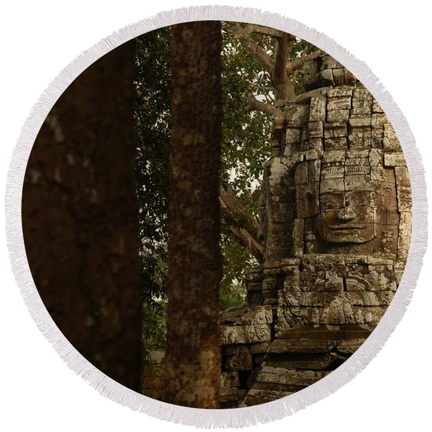 Angkor Wat Round Beach Towel featuring the photograph Forest Face by Timothy Leonard