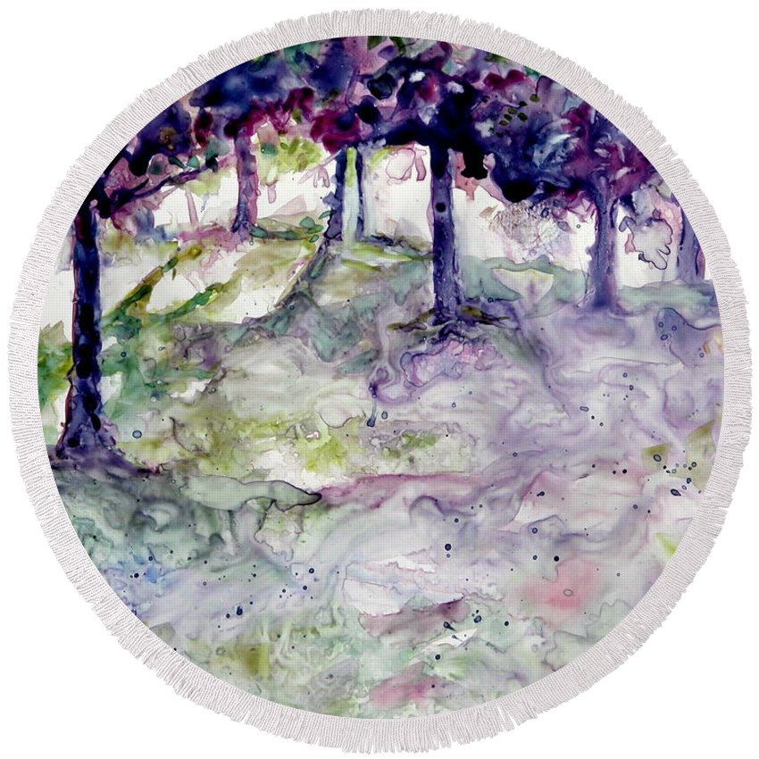 Fastasy Round Beach Towel featuring the painting Forest Fantasy by Jan Bennicoff