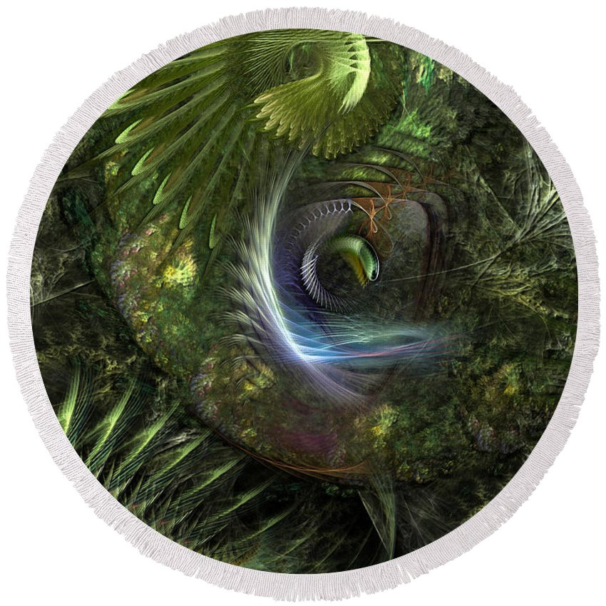 Abstract Round Beach Towel featuring the digital art Forest Floor Fantasy by Casey Kotas
