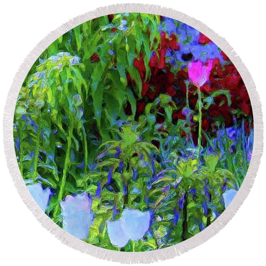 Nature Round Beach Towel featuring the painting Forest Flowers Different One by Susanna Katherine