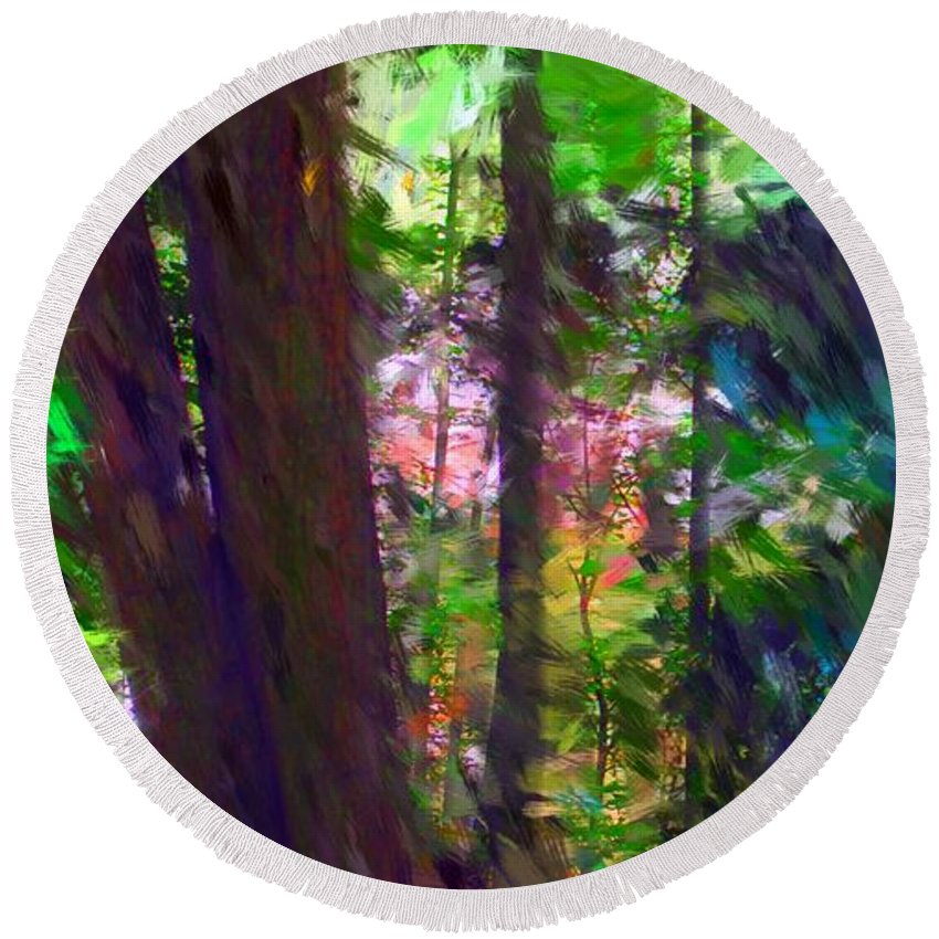 Digital Photography Round Beach Towel featuring the digital art Forest For The Trees by David Lane