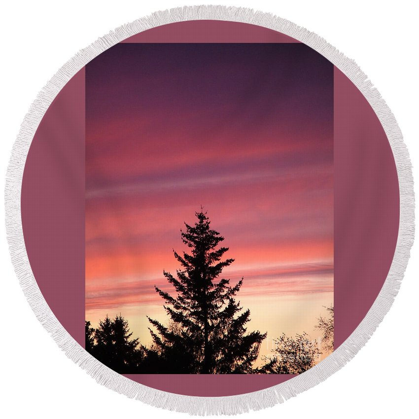 Sunset Photo Round Beach Towel featuring the photograph Forest Grove Sunset by Nick Gustafson