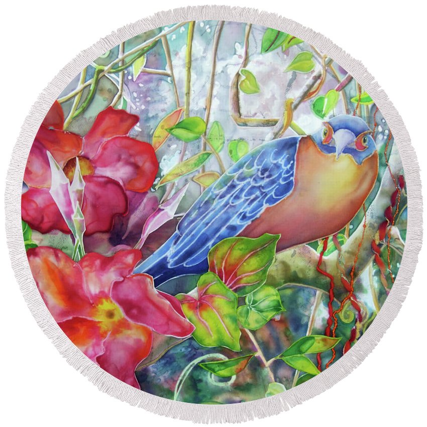 Bird Round Beach Towel featuring the painting Forest Guardian by Deborah Younglao