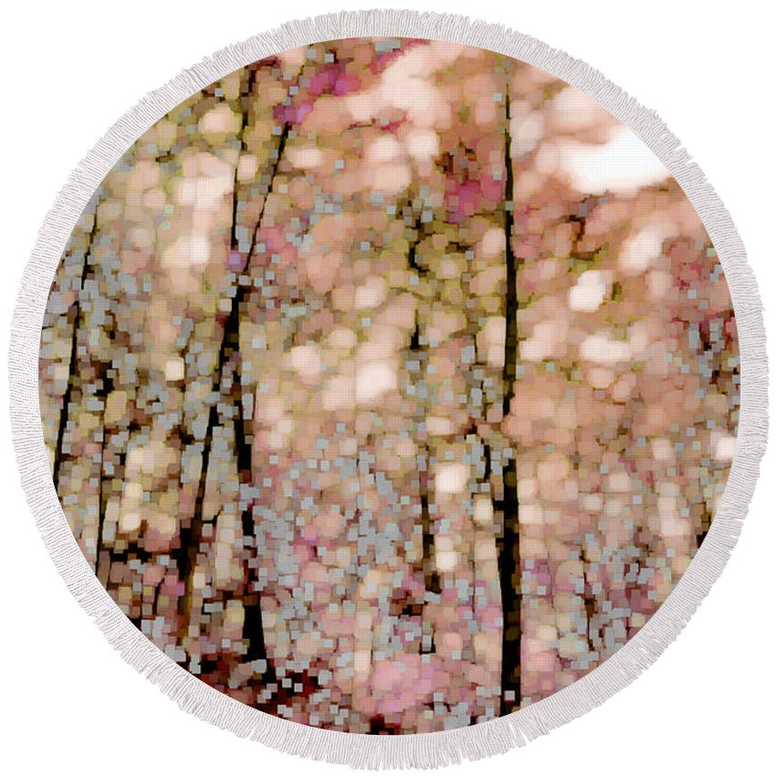 Landscape Round Beach Towel featuring the photograph Forest In Autumn by Lauren Radke