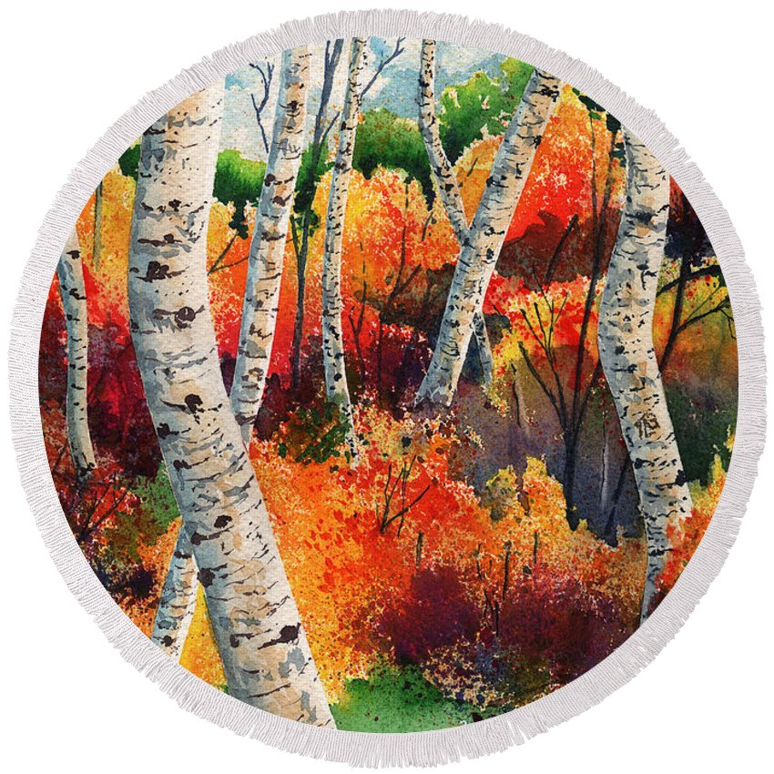 Tim Gordon Round Beach Towel featuring the painting Forest In Color by Timithy L Gordon