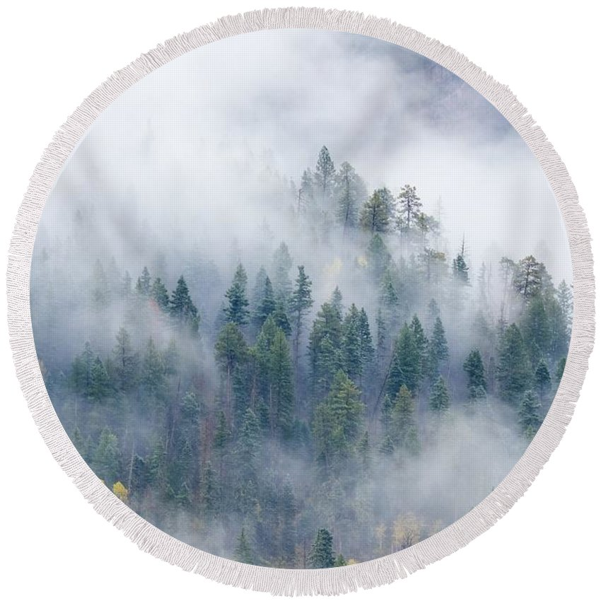 Autumn Round Beach Towel featuring the photograph Forest In The Clouds by Bill Sherrell