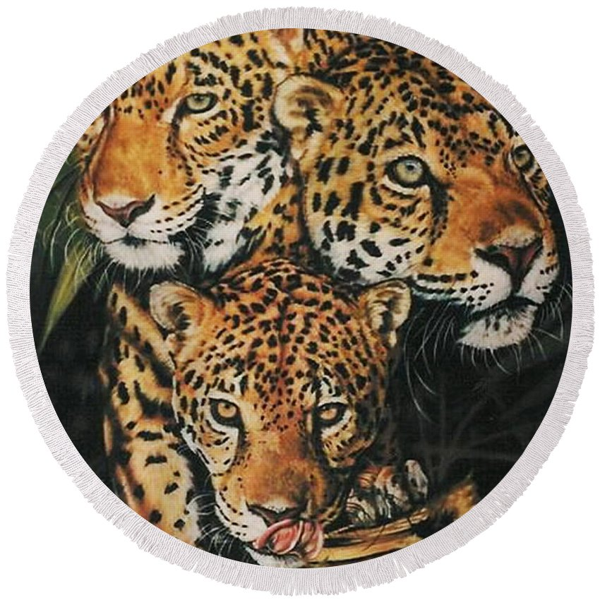 Jaguar Round Beach Towel featuring the pastel Forest Jewels by Barbara Keith