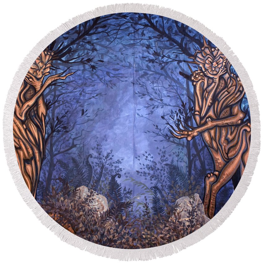 Mystic Round Beach Towel featuring the painting Forest by Judy Henninger