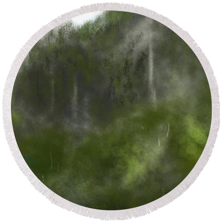 Digital Art Round Beach Towel featuring the digital art Forest Landscape 10-31-09 by David Lane
