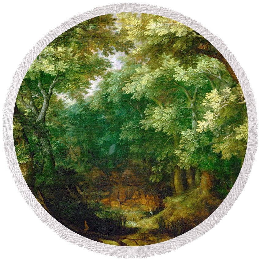 Gillis Van Coninxloo Round Beach Towel featuring the painting Forest Landscape by Gillis van Coninxloo