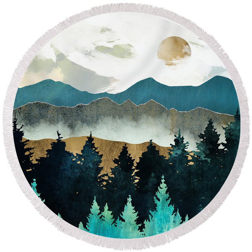 Forest Round Beach Towel featuring the digital art Forest Mist by Spacefrog Designs