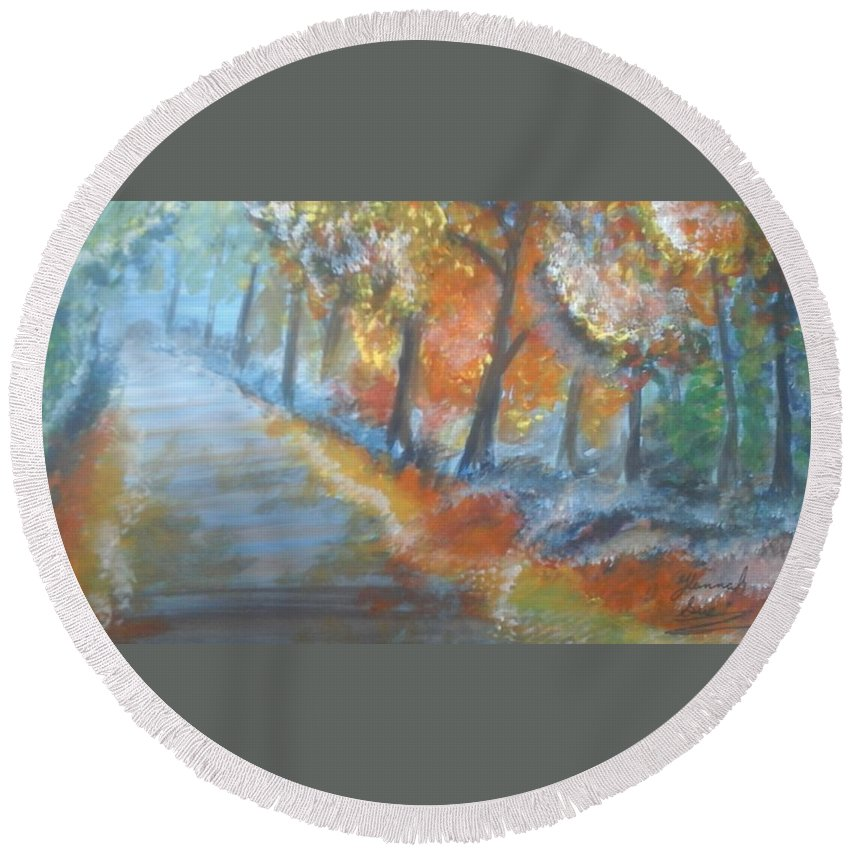Path Round Beach Towel featuring the painting Forest Path.... by Hannah Firezar