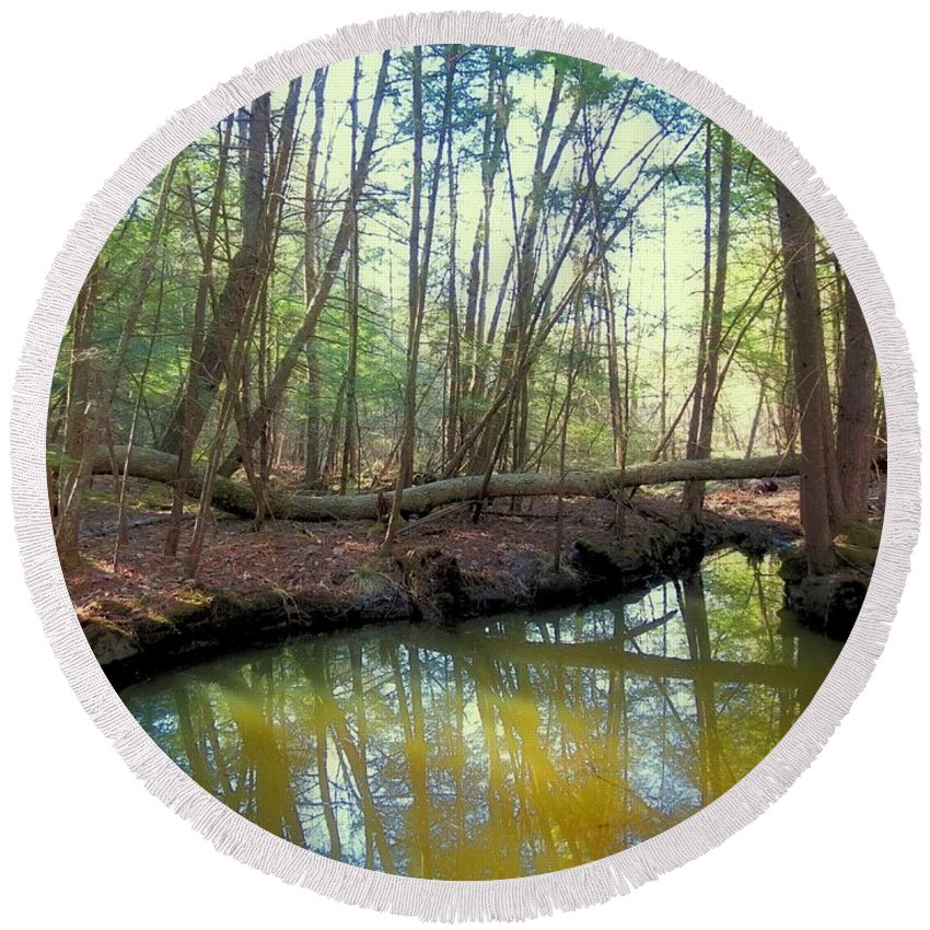 Forest Round Beach Towel featuring the photograph Forest Pool by MTBobbins Photography