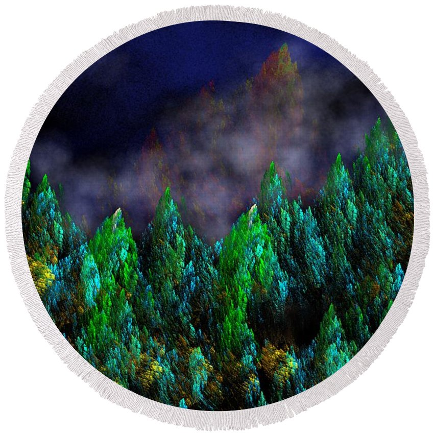Abstract Digital Painting Round Beach Towel featuring the digital art Forest Primeval by David Lane