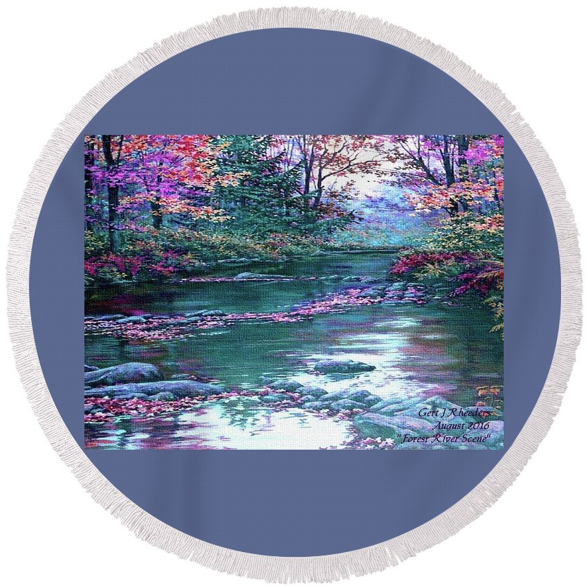 Rural Round Beach Towel featuring the painting Forest River Scene. L A by Gert J Rheeders