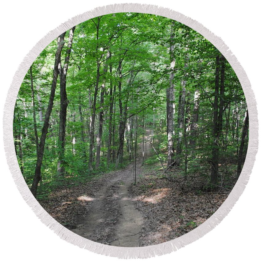 Forest Round Beach Towel featuring the photograph Forest Road by Jost Houk