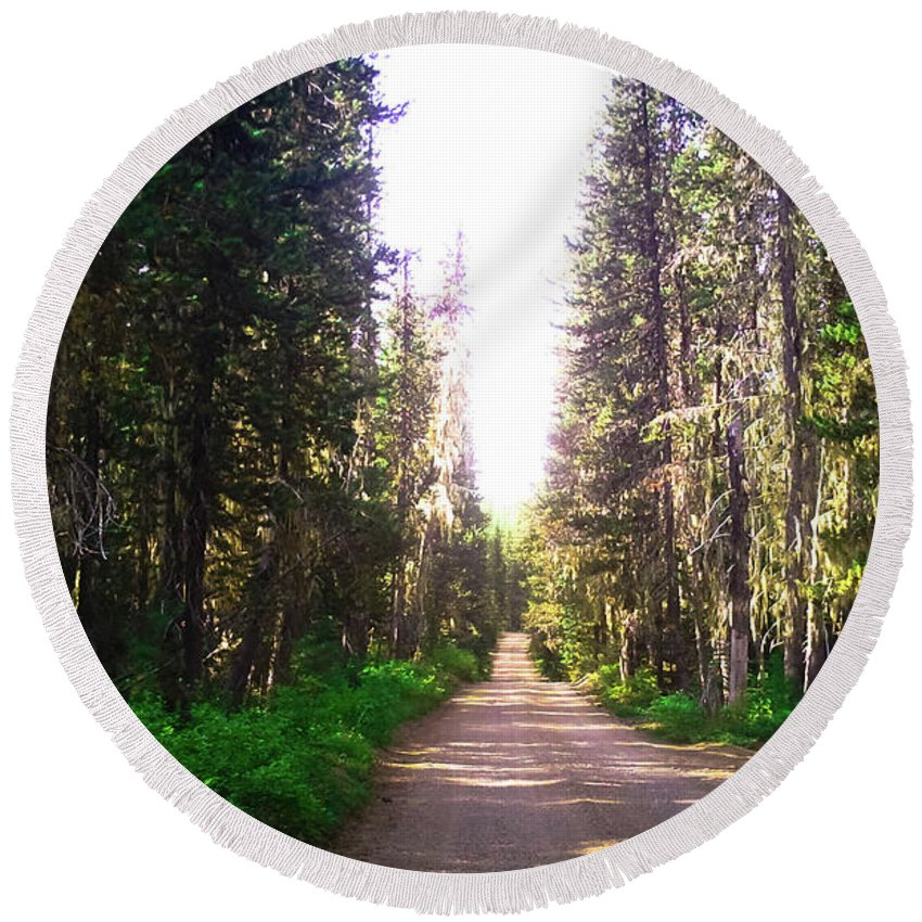 Forest Round Beach Towel featuring the photograph Forest Road by Linda Chambers