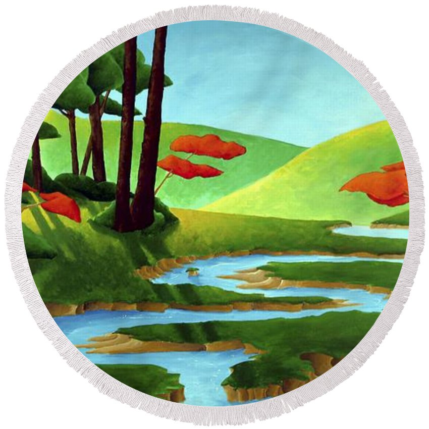 Landscape Round Beach Towel featuring the painting Forest Stream - Through The Forest Series by Richard Hoedl