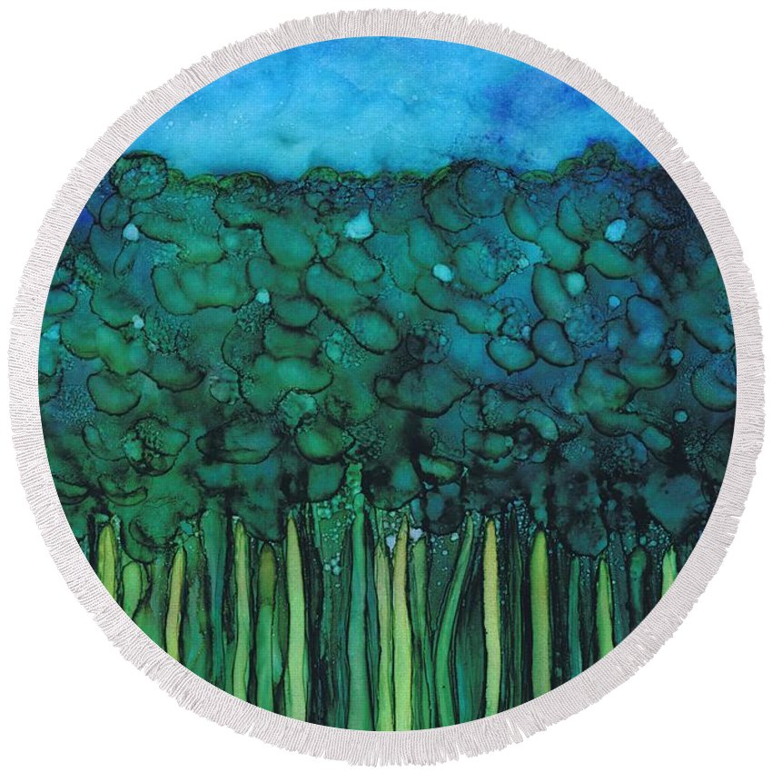 Hao Aiken Round Beach Towel featuring the painting Forest Under The Full Moon - Abstract by Hao Aiken