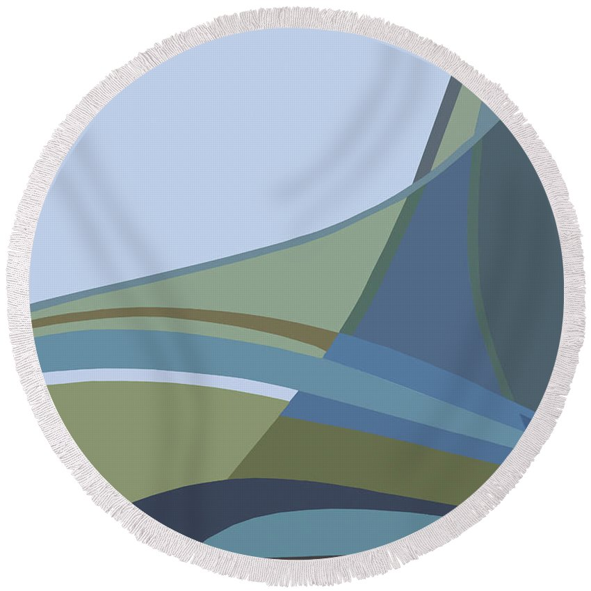 Abstract Round Beach Towel featuring the painting Forest View by Jacqueline Shuler