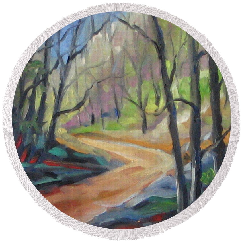 Art Round Beach Towel featuring the painting Forest Way by Richard T Pranke