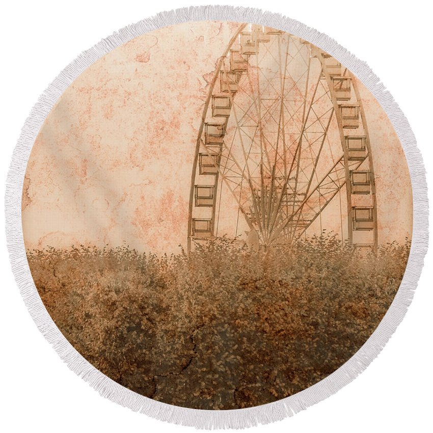 Paris Round Beach Towel featuring the photograph Paris, France - Forest Wheel by Mark Forte