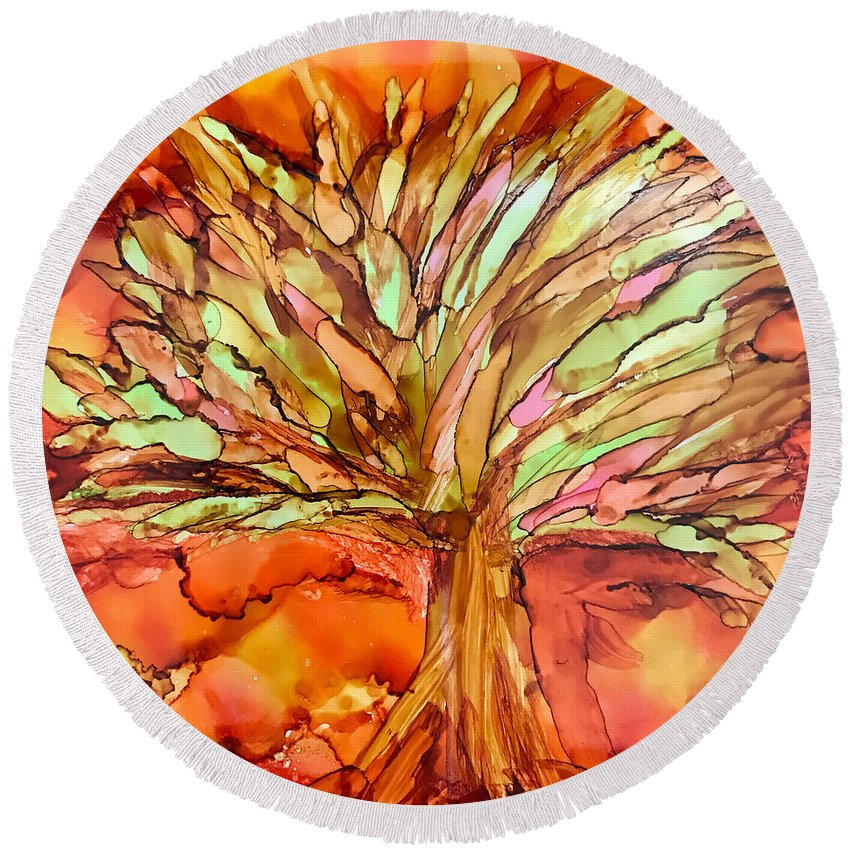 Fall Round Beach Towel featuring the ceramic art Forever Autumn by Susi Schuele