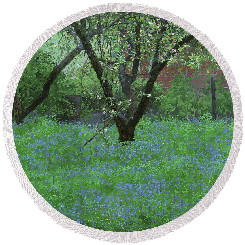 Landscape Round Beach Towel featuring the painting Forget Me Not Flowers by Simon Kozhin