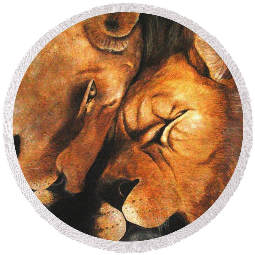 Lion Round Beach Towel featuring the painting Forgiven by Glory Fraulein Wolfe