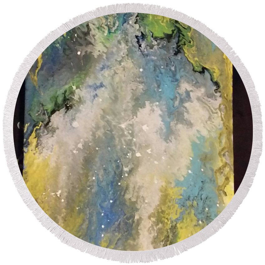 Abstract Round Beach Towel featuring the painting Forgiven by Jennifer Mars