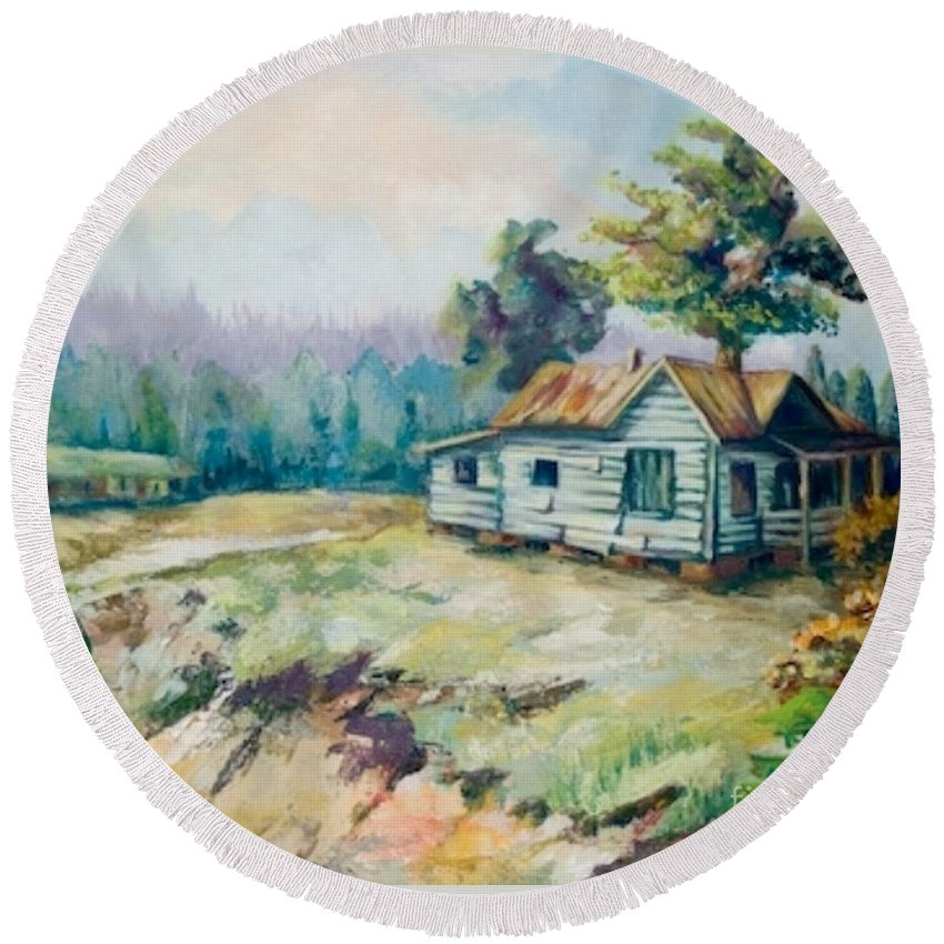 Old Houses Round Beach Towel featuring the painting Forgotten Places II by Elisabeta Hermann