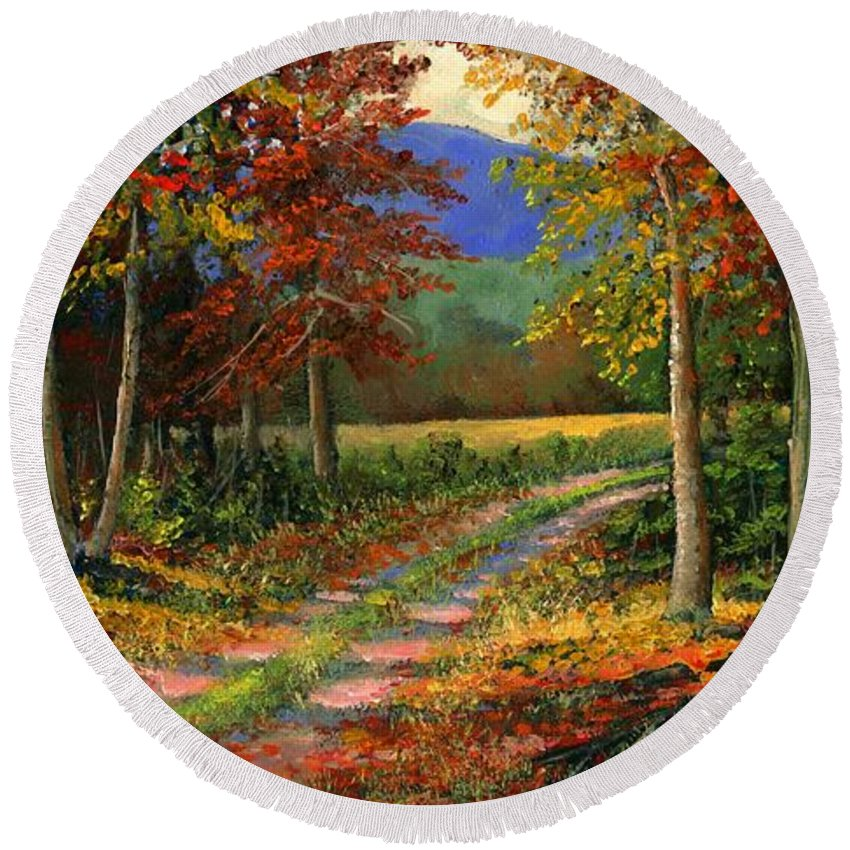 Landscape Round Beach Towel featuring the painting Forgotten Road by Frank Wilson