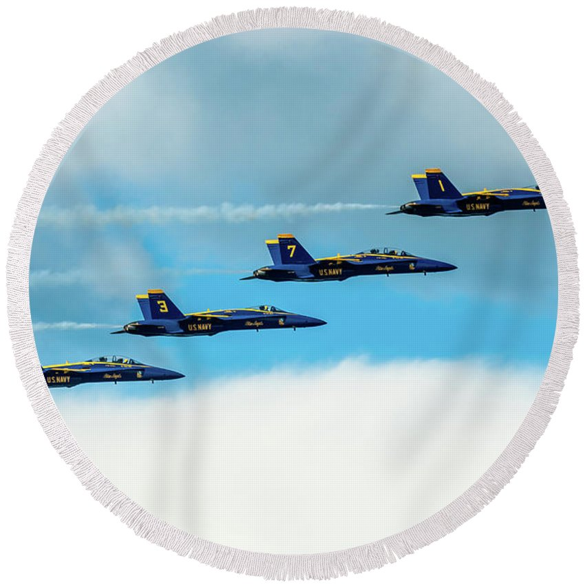 Aircraft Round Beach Towel featuring the pyrography Formation Of Blue Angels by Javier Flores