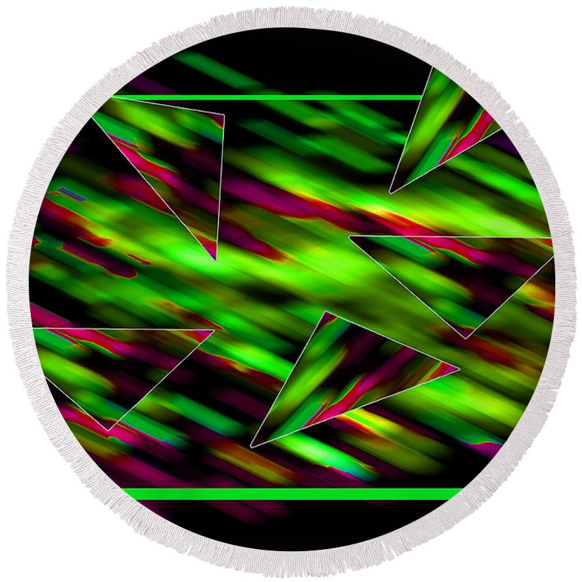 Abstract Round Beach Towel featuring the digital art Formation by Roger Bester