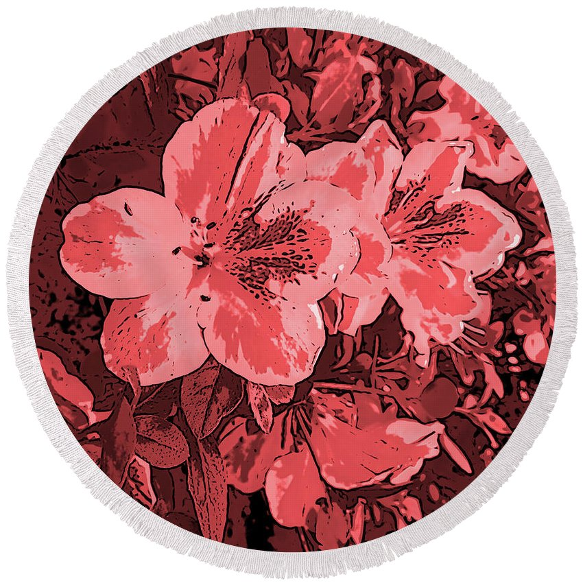 Photography Round Beach Towel featuring the digital art Formosa Lavender Azaleas In Deep Red Hues by Marian Bell