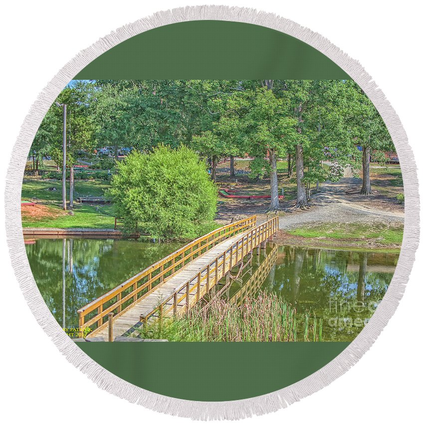 Round Beach Towel featuring the photograph Forrest Lakes by Patrick Burke