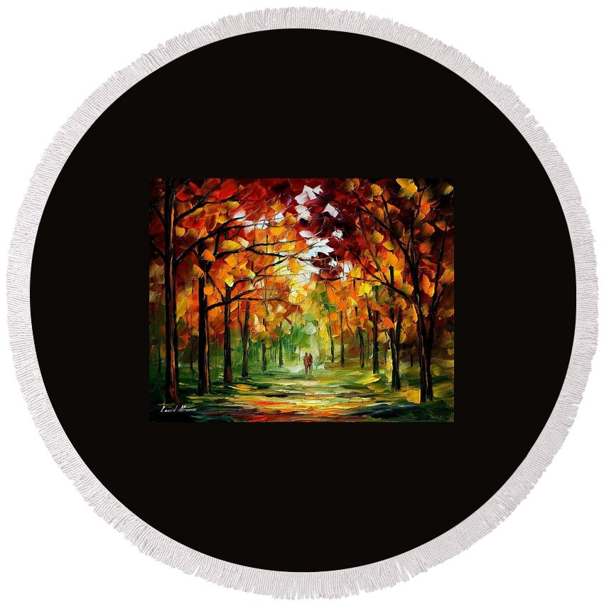 Jandscape Round Beach Towel featuring the painting Forrest Of Dreams by Leonid Afremov