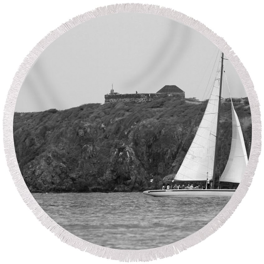 Photo For Sale Round Beach Towel featuring the photograph Fort Amsterdam Sailboat by Robert Wilder Jr