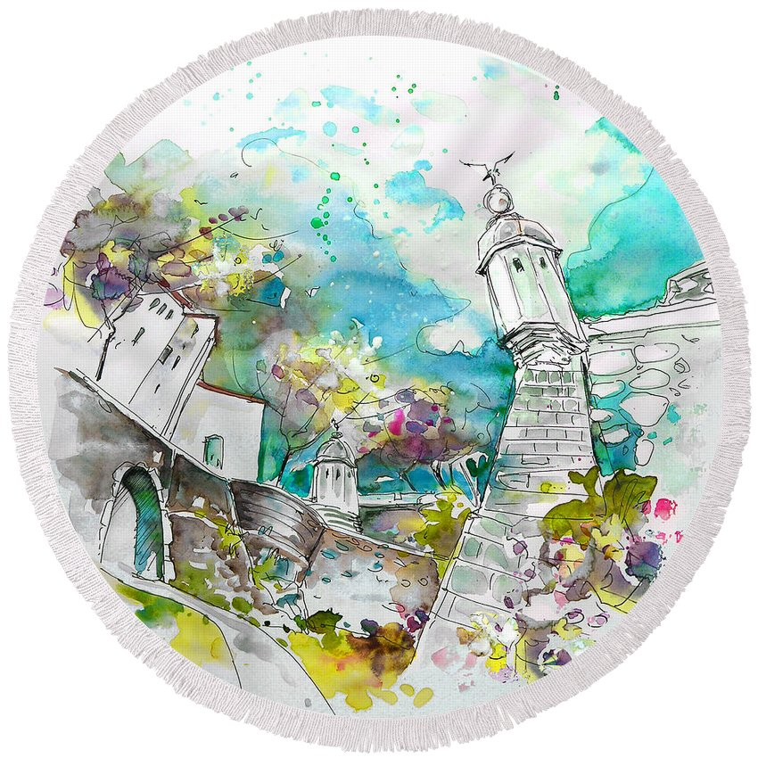 Portugal Round Beach Towel featuring the painting Fort And Houses In Valenca by Miki De Goodaboom