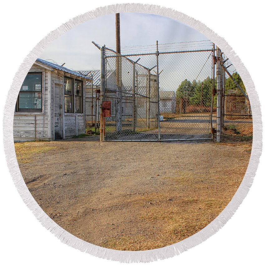 Fort Smith Round Beach Towel featuring the photograph Fort Chaffee Prison by Tammy Chesney