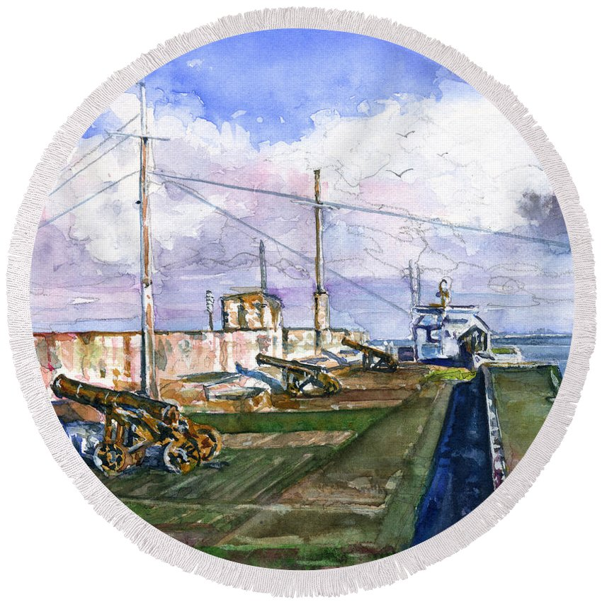 Caribbean Round Beach Towel featuring the painting Fort Charlotte, Kingstown by John D Benson