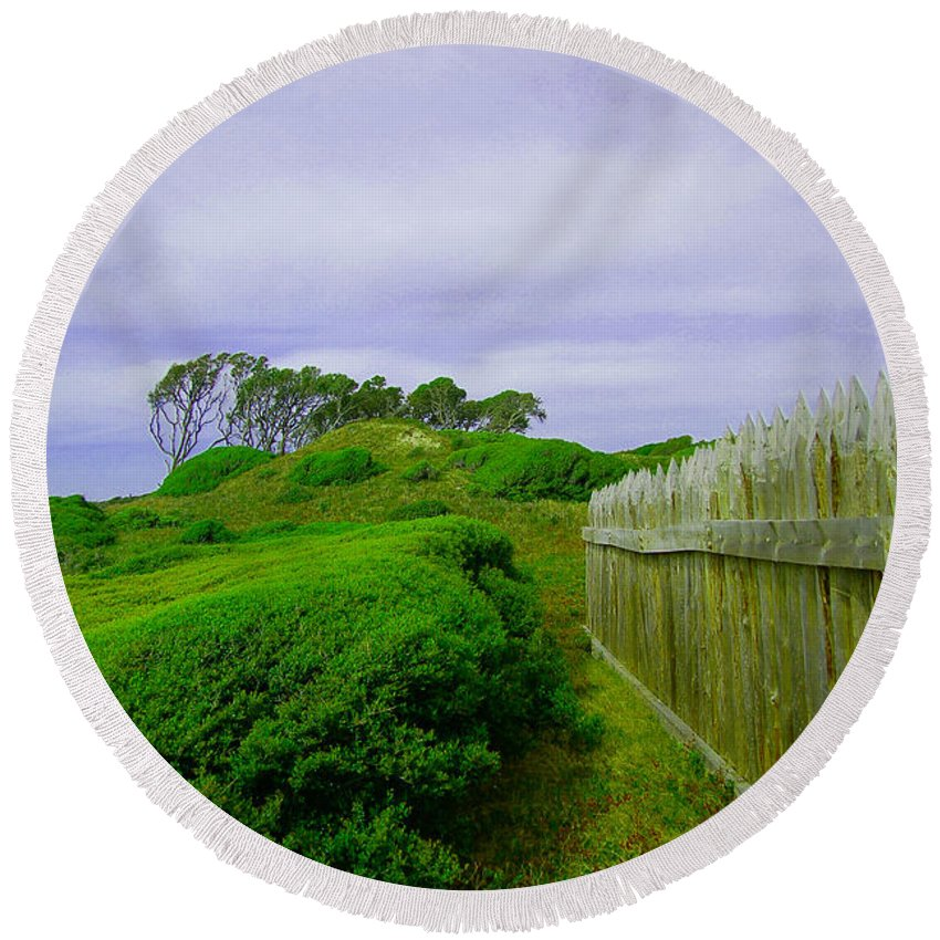 Carolina Round Beach Towel featuring the photograph Fort Fisher Terrain by David Anderson