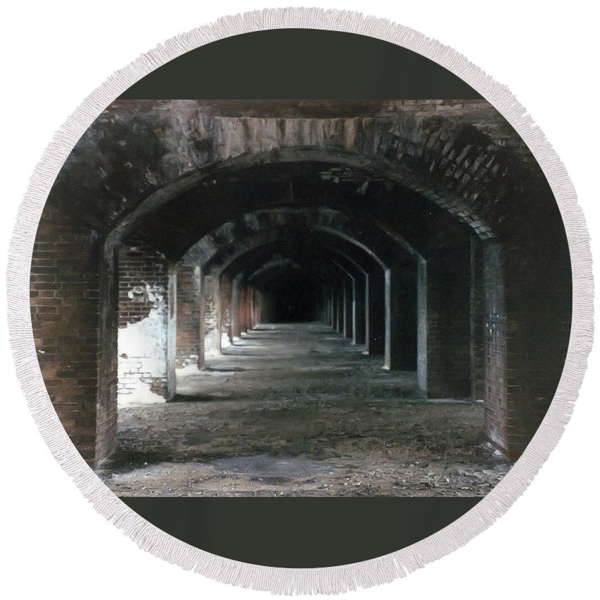 Florida Round Beach Towel featuring the photograph Fort Jefferson 2 Photograph by Kimberly Walker