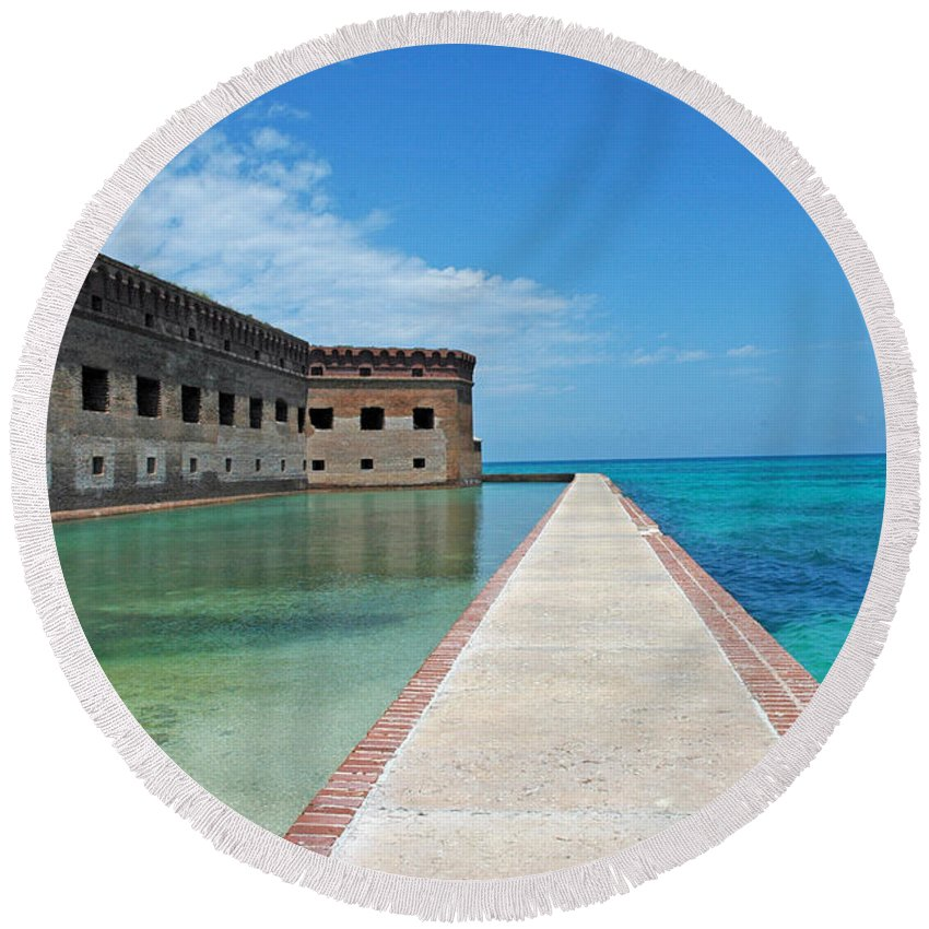 Fort Jefferson Round Beach Towel featuring the photograph Fort Jefferson Dry Tortugas by Susanne Van Hulst