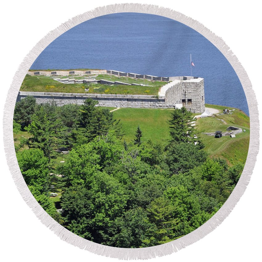 Fort Knox Round Beach Towel featuring the photograph Fort Knox Maine by Glenn Gordon
